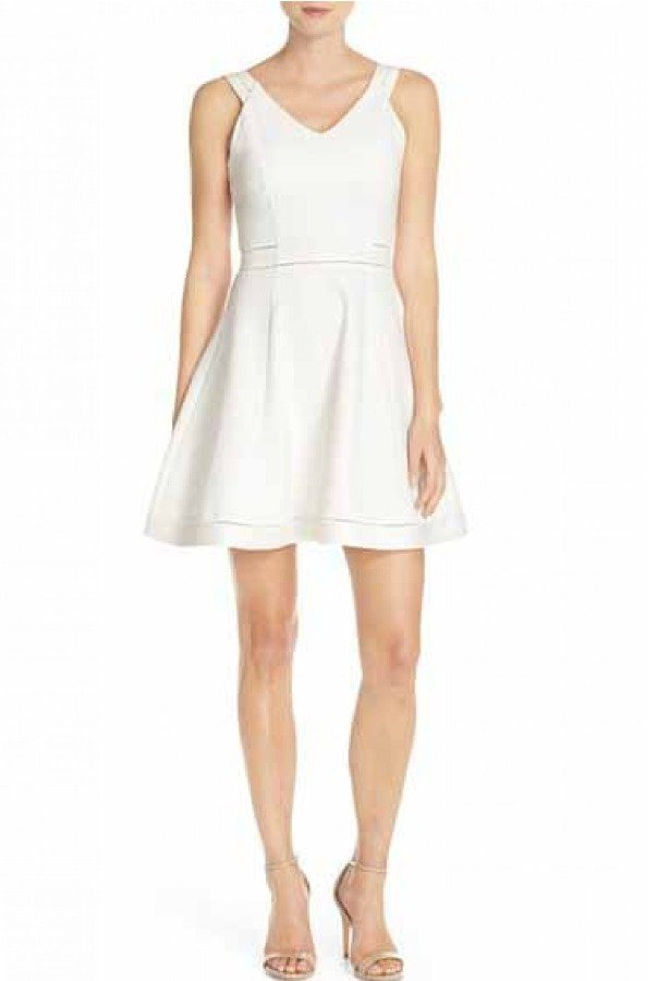 French Connection White Fit and Flare Lula Dress 71FLC