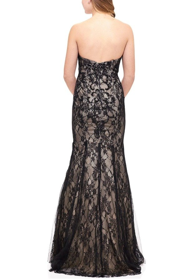 Milano Formals Black Fitted Strapless Lace Gown E1904