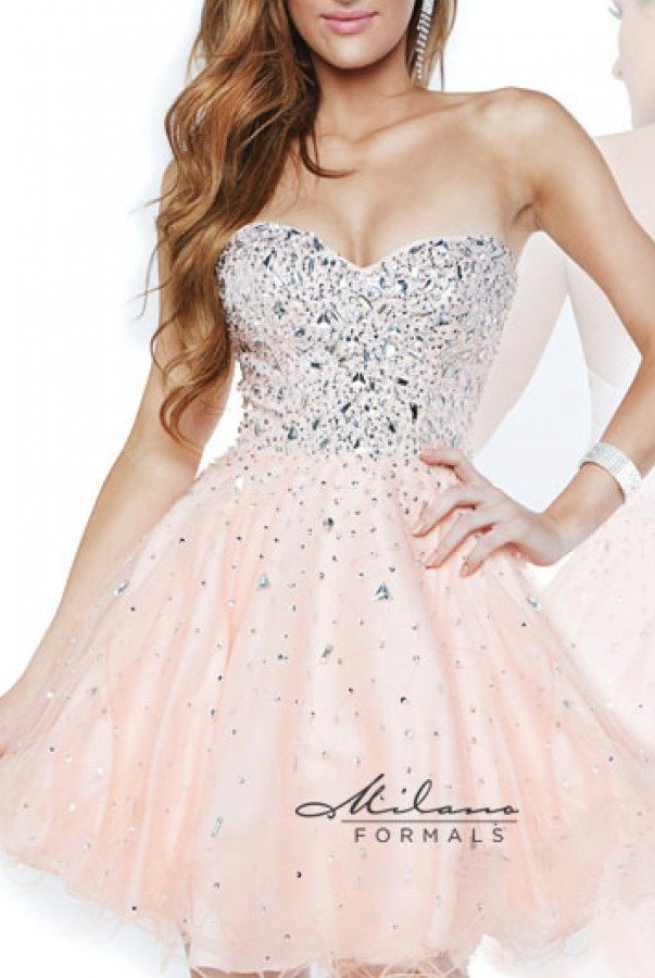 Milano Formals Peach Tulle Strapless Beaded Cocktail Dress E1617