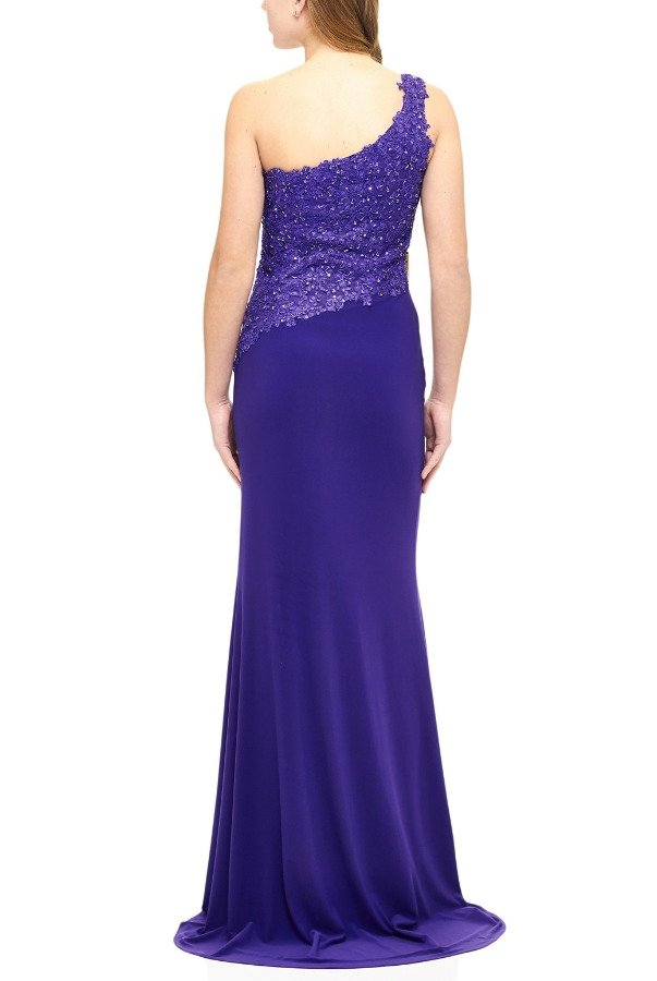 Milano Formals Purple Beaded One Shoulder Fitted Gown E1903