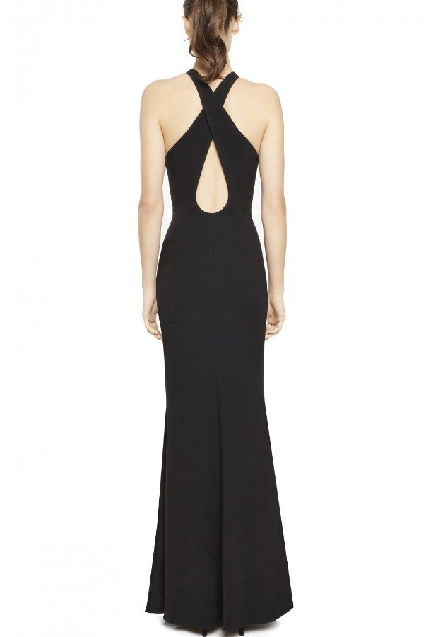 Jill Jill Stuart Black Halter with Back Cut Out Gown 461413