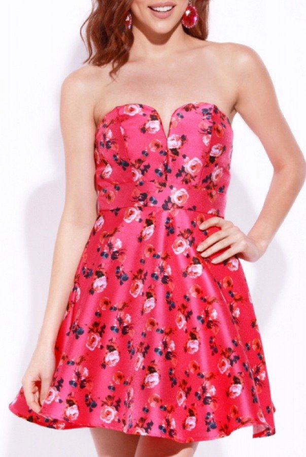 Josh and Jazz  Fuchsia Strapless Floral Dress Q3RME196