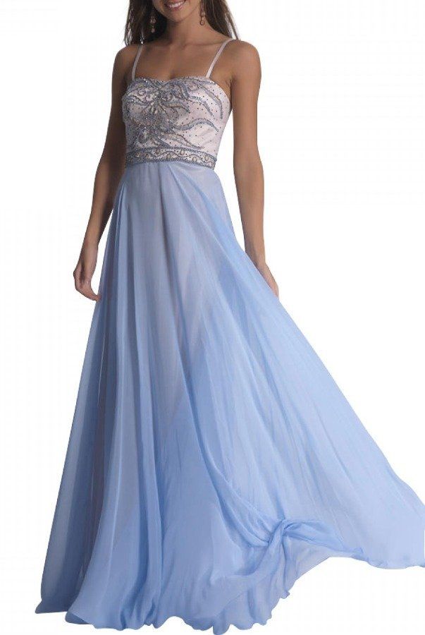 Dave and Johnny Ice Blue Beaded A-line Gown 1331