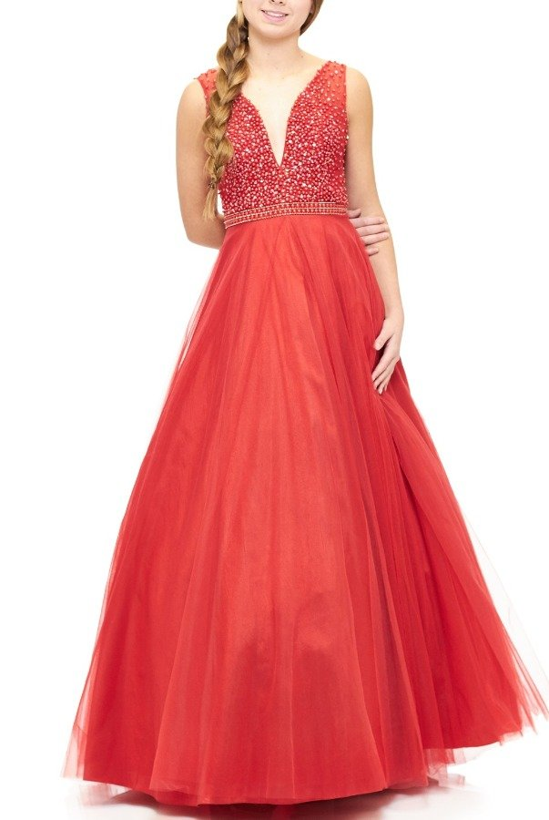 Milano Formals Red Tulle A-Line Ballgown E1912