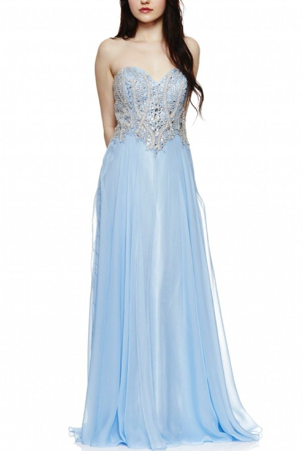 Dave and Johnny Blue Jeweled Embellished Strapless Gown 1186