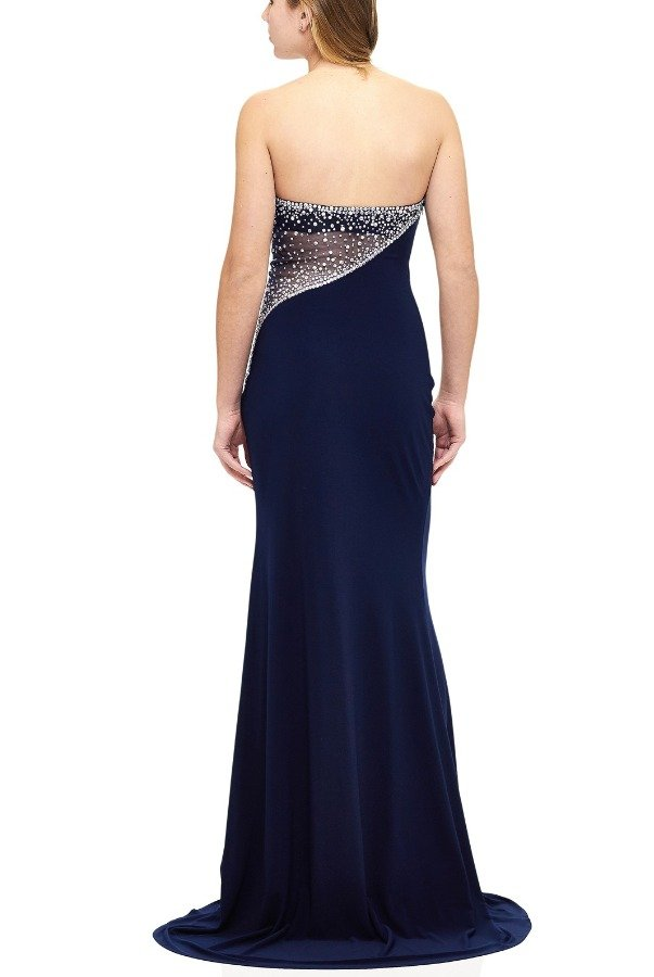 Milano Formals Blue Jeweled Back Gown E1778
