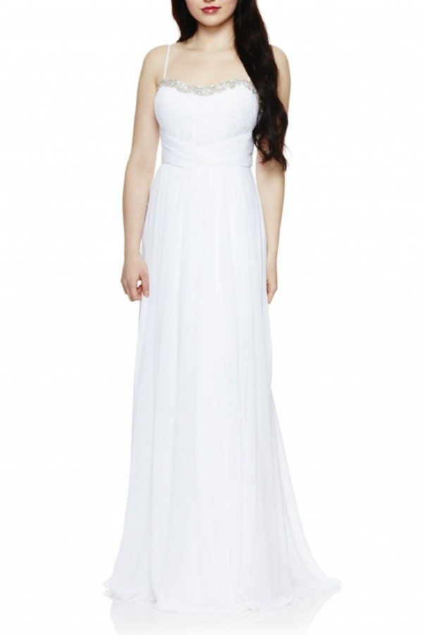 Dave and Johnny White Sweetheart Ruched Gown 669