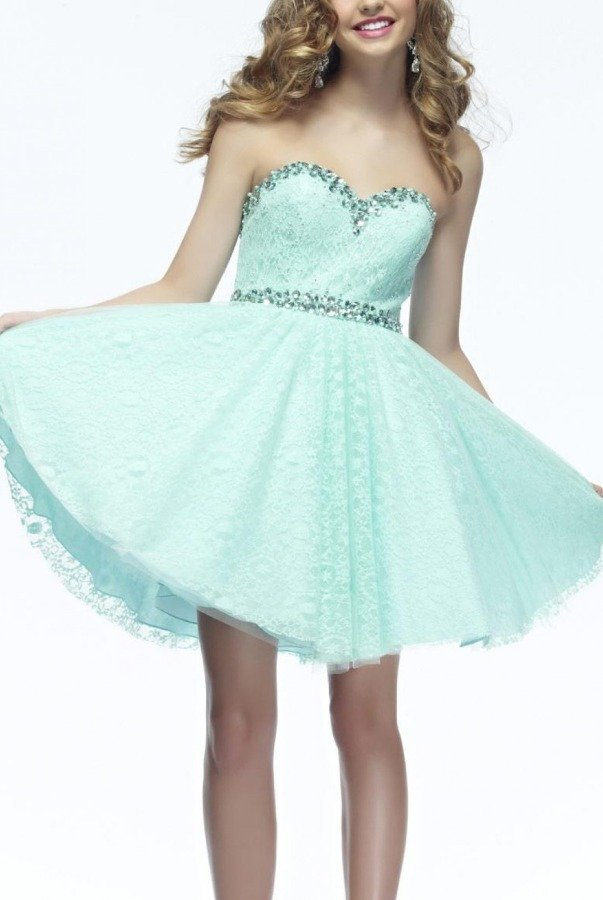 Riva Designs Turquoise Riva Designs Strapless Sparkle Dress