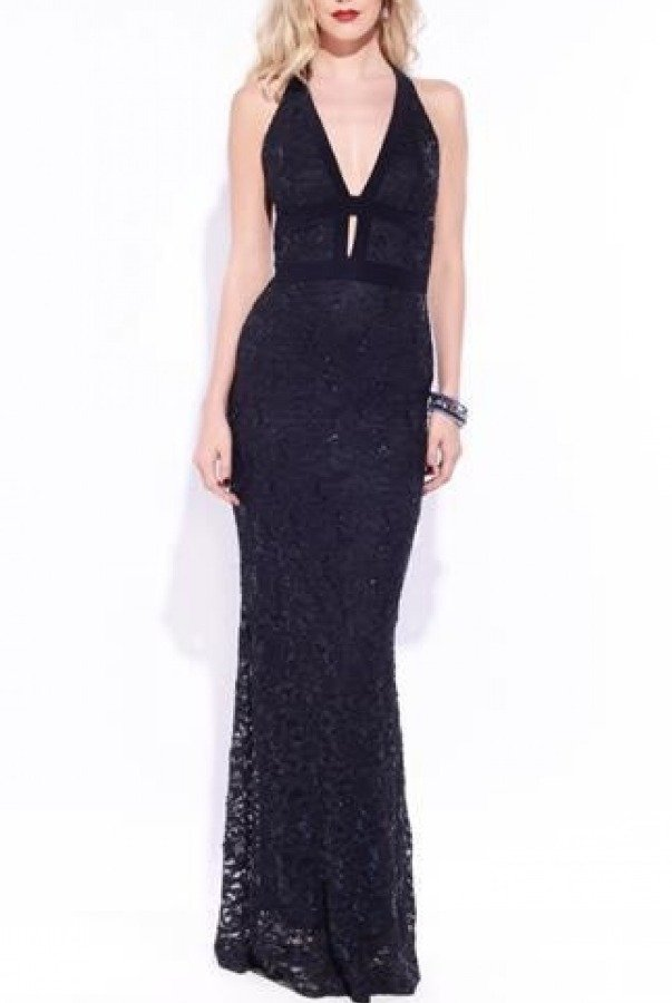 Josh and Jazz Black Lace Gown 17BWC548