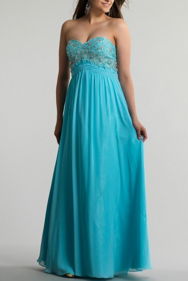 Dave and Johnny  Blue Beaded Strapless Gown 9660