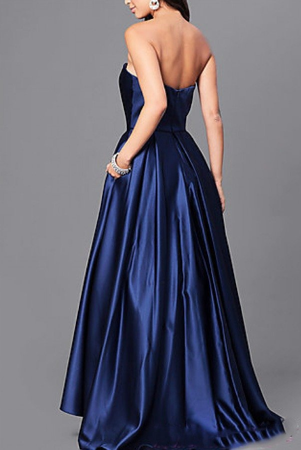Strapless Hi-Low Ball GownR-S Red Strapless Hi-Low Ball Gown A18224R-S