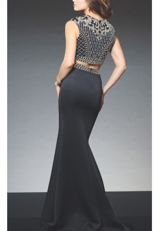 Mon Cheri Black Beaded Two-Piece 21510