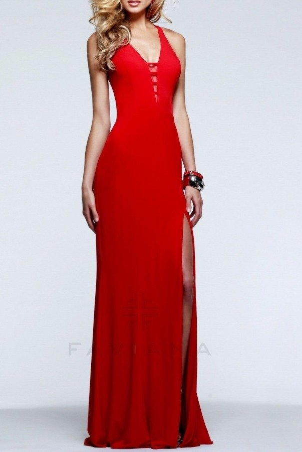 Faviana 7540 Red V Neck Evening Gown