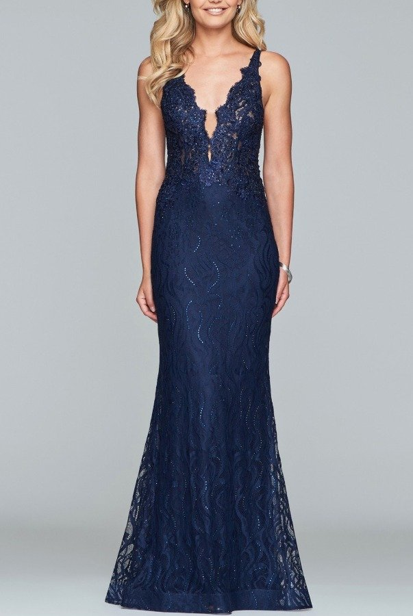 S10293 Navy Blue Leila Lace Mermaid Gown