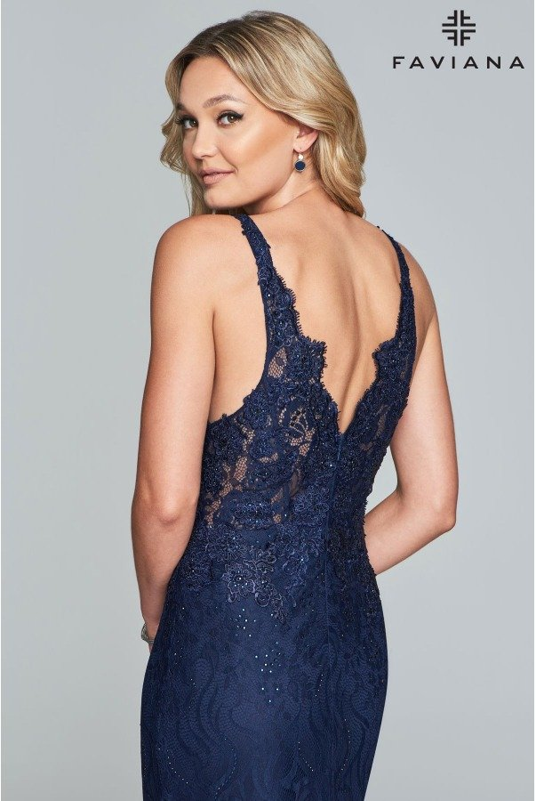 Faviana S10293 Navy Blue Leila Lace Mermaid Gown