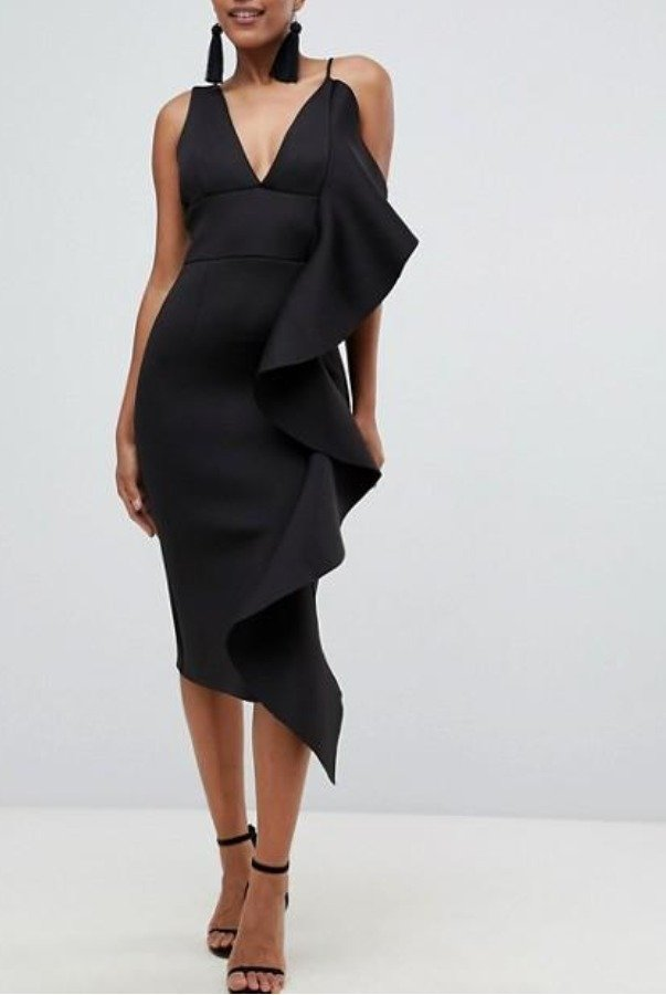 Lavish Alice Black Draped Frill Midi Cocktail Dress
