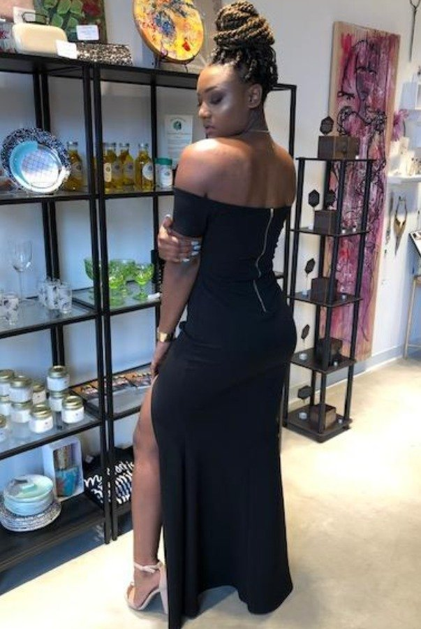 The Frock Shop Black Off the Shoulder Evening Gown with Slit