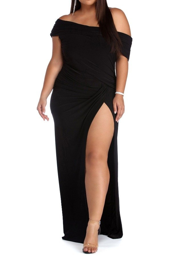 The Frock Shop Black off the shoulder evening gown