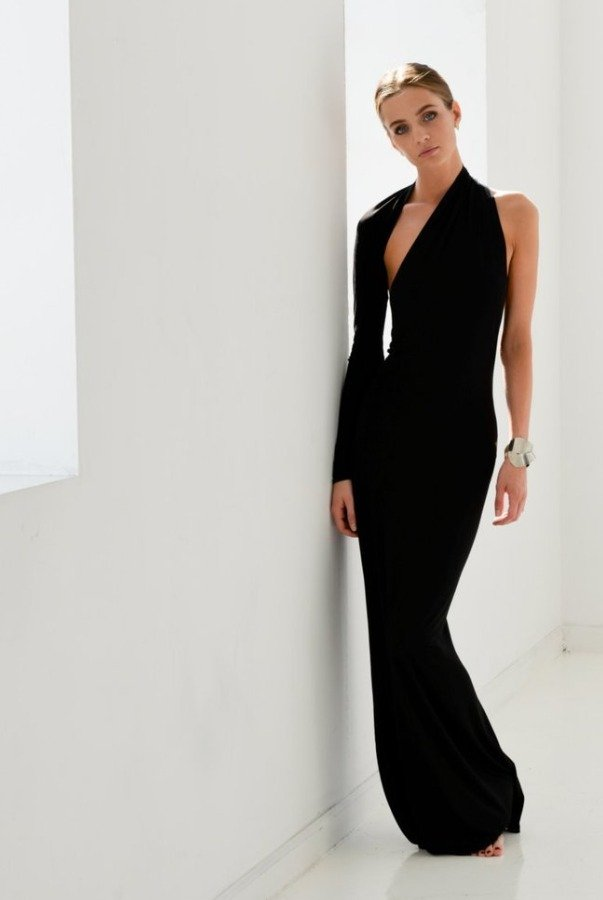 Marcellamoda One shoulder long sleeve black gown