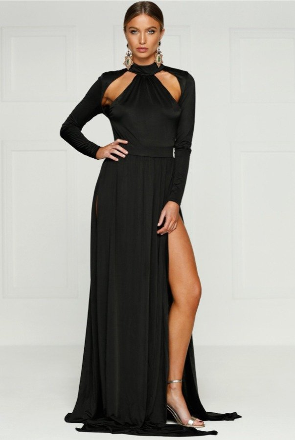 Alamour The Label Black Long Sleeve Cutout Gown w High Slit