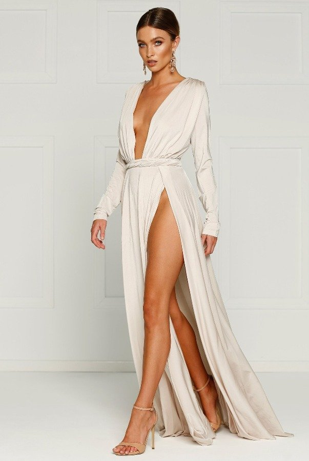 Alamour The Label Oyster White Long Sleeve High Slit Sahara Gown