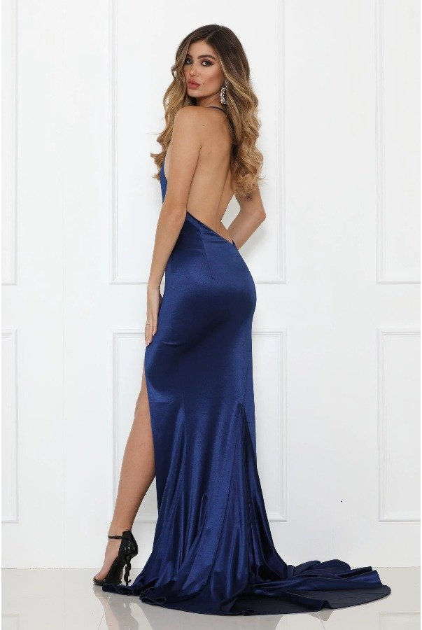 Abyss by Abby Blue One Shoulder Flame Gown w Open Back