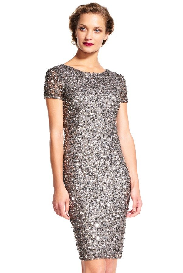 Adrianna Papell Cap Sleeve Scoop Back Beaded Dress in Lead