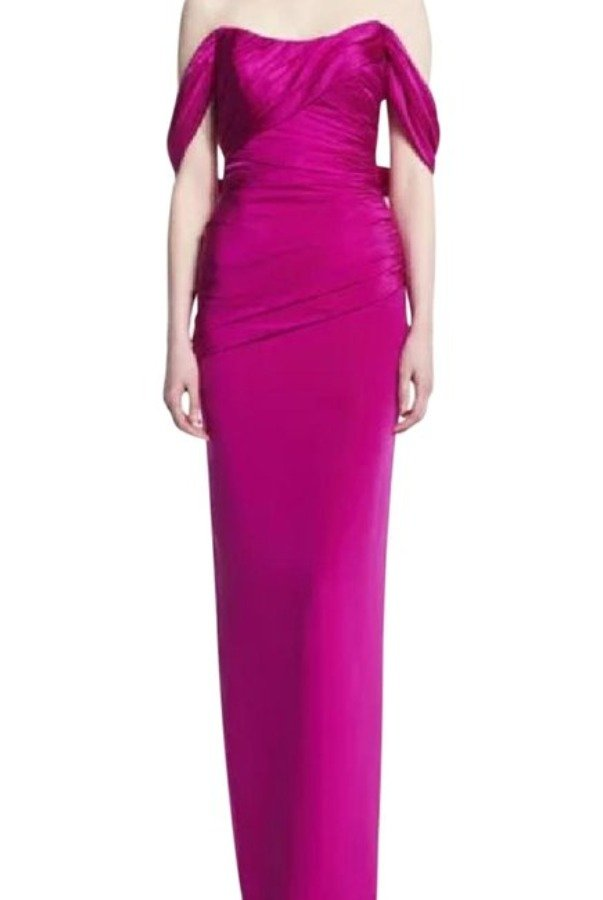 Theia Pink Off Shoulder Column Gown