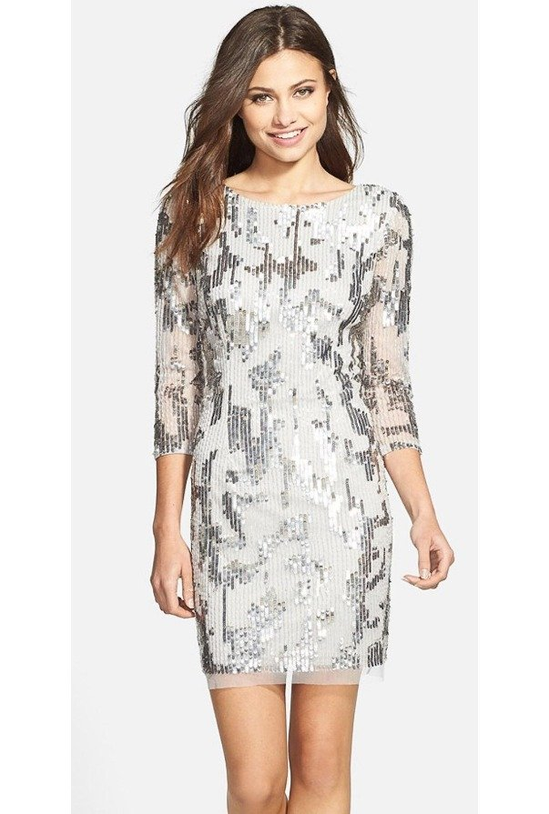 Adrianna Papell Here There Sequin Cocktail  Long Sleeve Silver