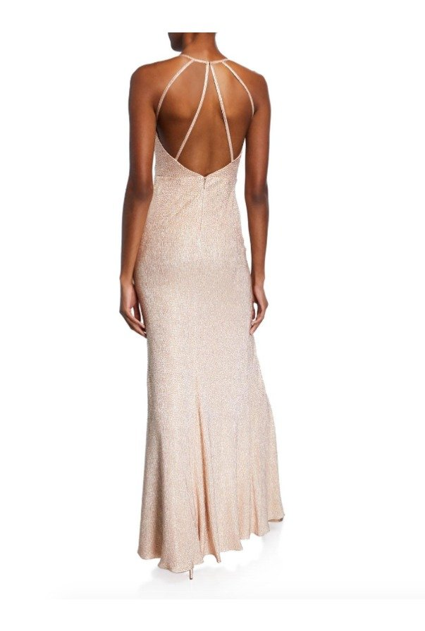 Aidan Mattox Pink Foiled-knit Halter Gown With Strappy Back