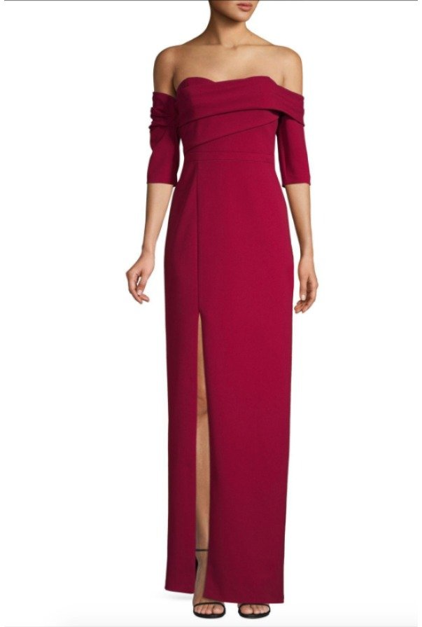 Aidan Mattox Red Flared Ruffle Sleeves Fitted Evening Gown