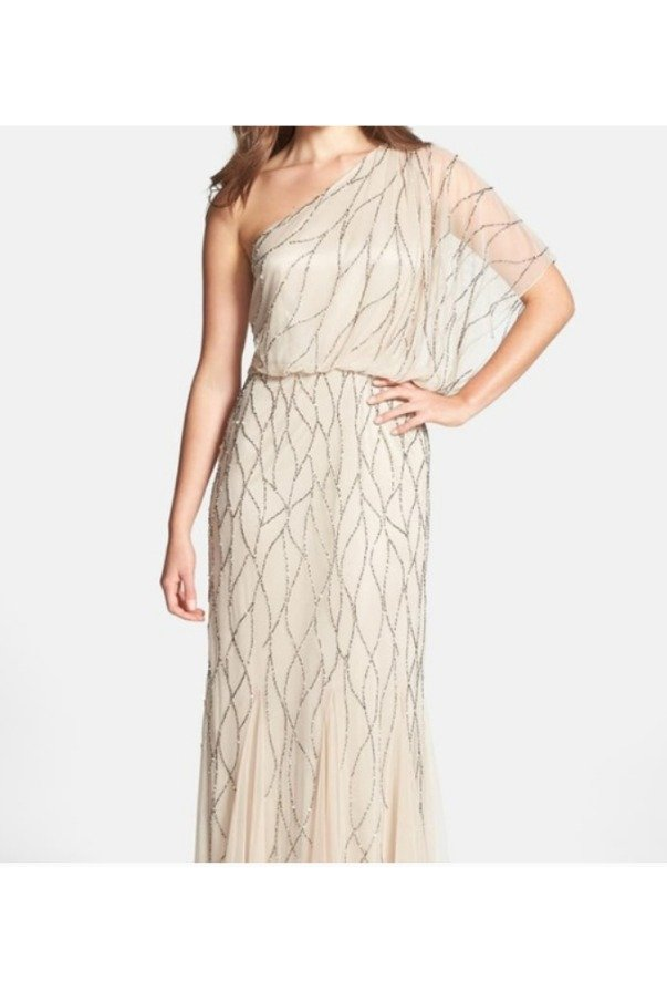 Adrianna Papell Beaded One Shoulder Blouson Gown Nude Champagne