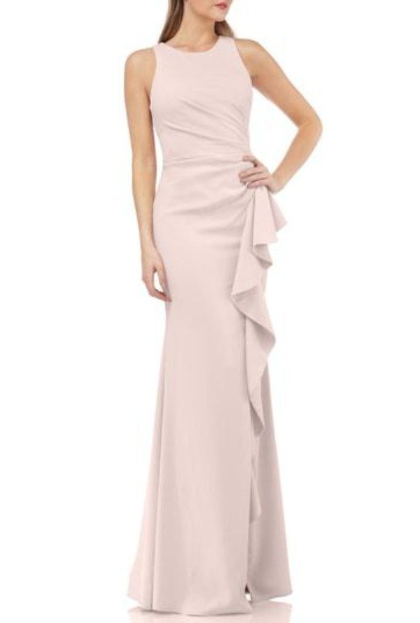 Carmen Marc Valvo  Couture Infusion Ruffle Gown DUSTY ROSE PINK