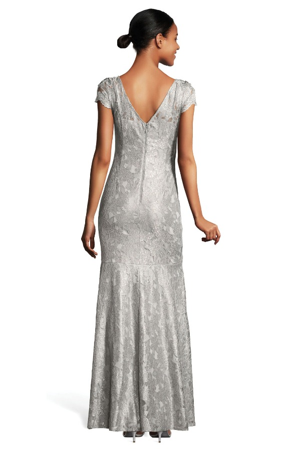 Adrianna Papell  Silver Scalloped Lace Gown Dress