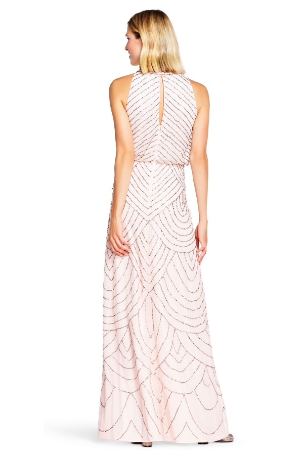 Adrianna Papell Halter blouson beaded gown