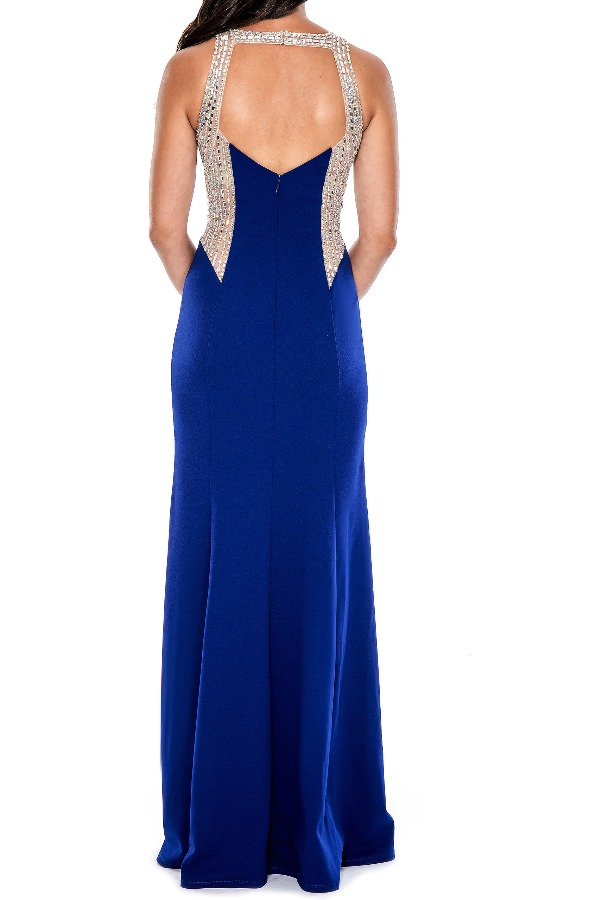 Decode 18 Sleeveless evening gown with crystal detailing