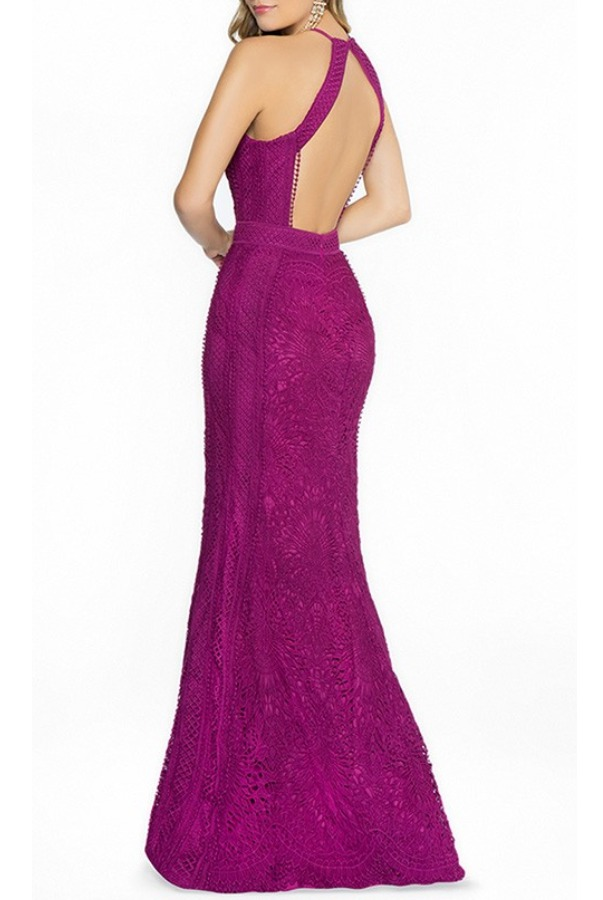 Val Stefani Purple Anisa Lace Halter Gown 3773RD