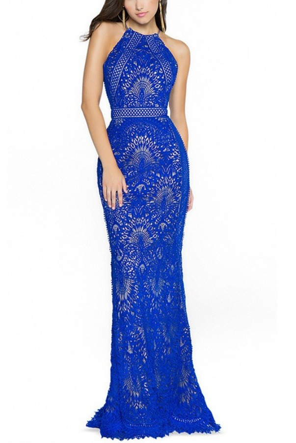 Val Stefani Blue Anisa Lace Halter Gown 3773RD