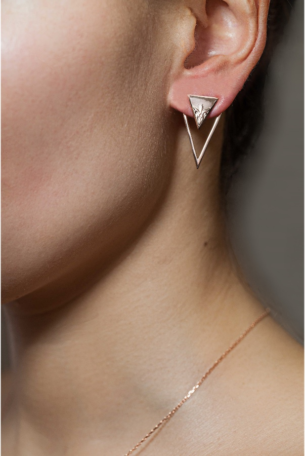 Sandugash Gallo Jewelry SEMIKINA Rose Gold Plated Earrings Triple Triangle