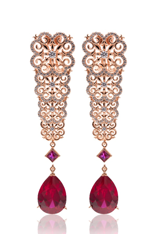 Sandugash Gallo Jewelry RAMINA Rose  Gold  Drop Earrings  with Corundum