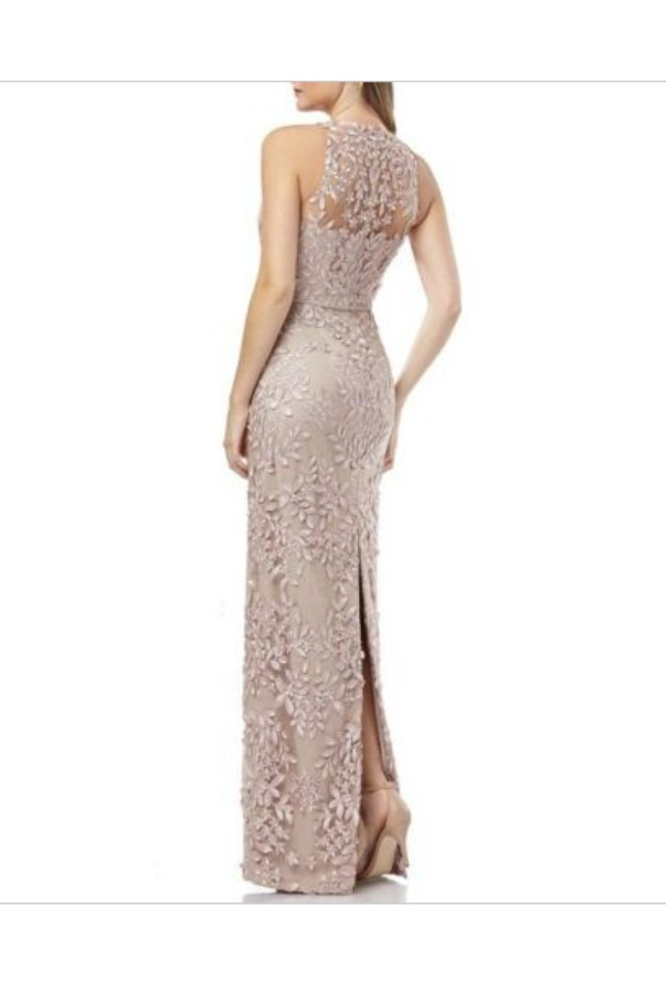 JS Collection 3D Marchesa Inspired Champagne Gown Floral Column
