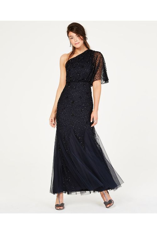 Adrianna Papell Beaded One Shoulder Blouson Gown Midnight black