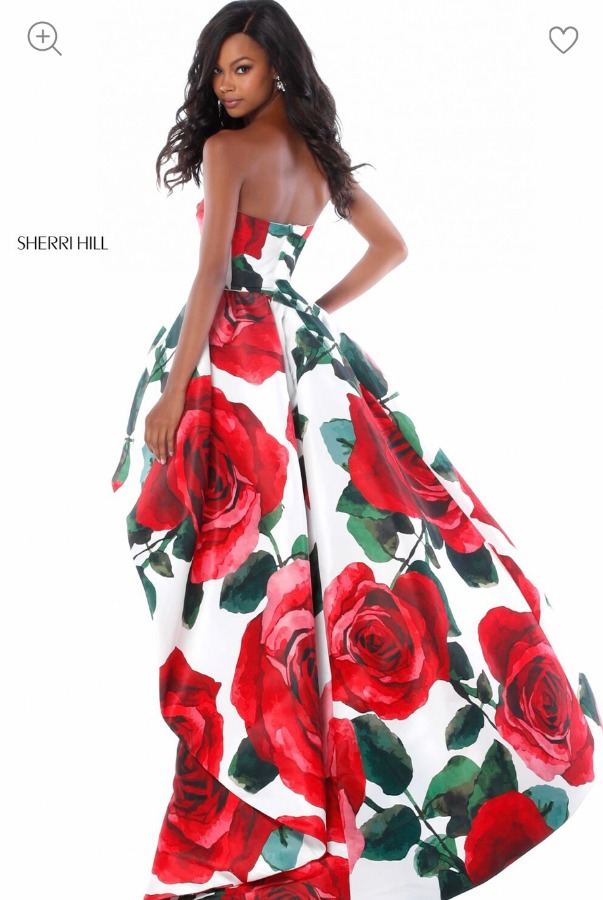 Sherri Hill Floral high-low with strapless bodice 51316