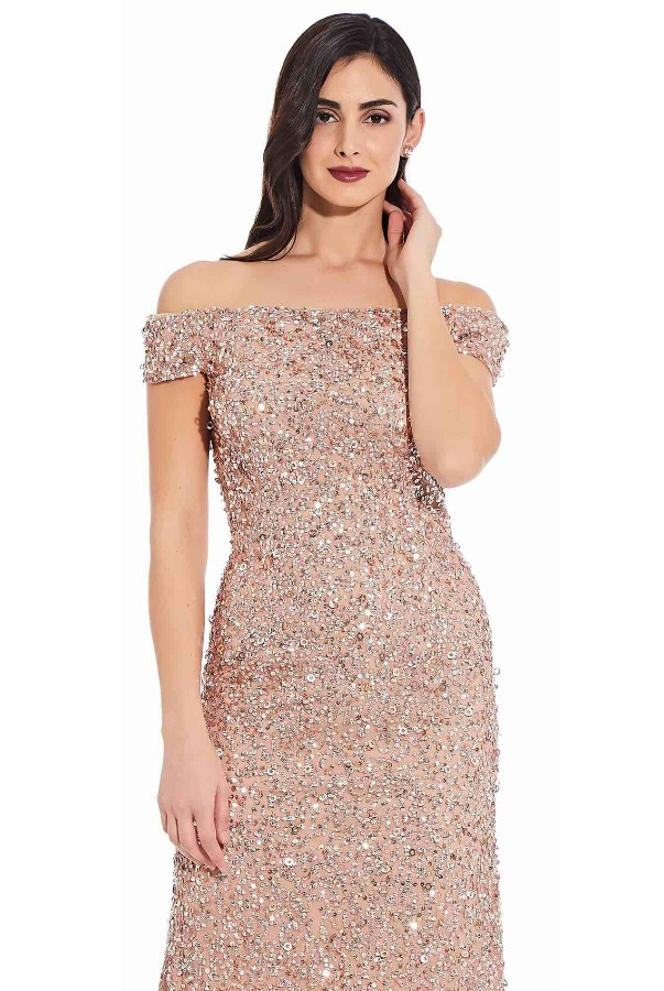 Adrianna Papell Off the Shoulder Sequin Beaded Gown in Rose Gold