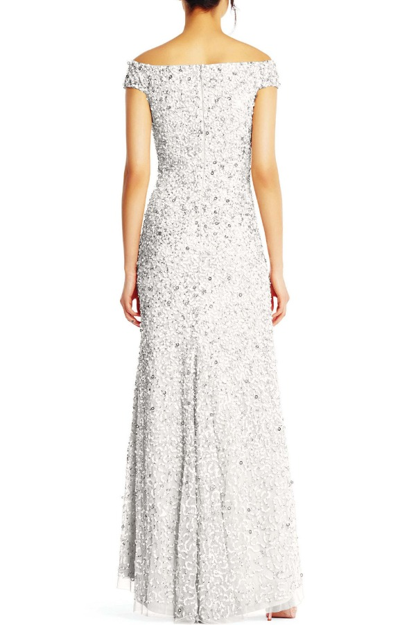 Adrianna Papell Ivory off Shoulder Sequin Beaded Mermaid Gown