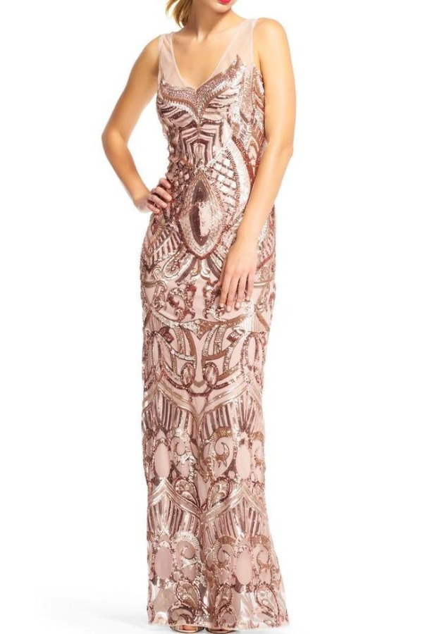 Adrianna Papell Rose Gold Long Sequin Beaded Gown Dress