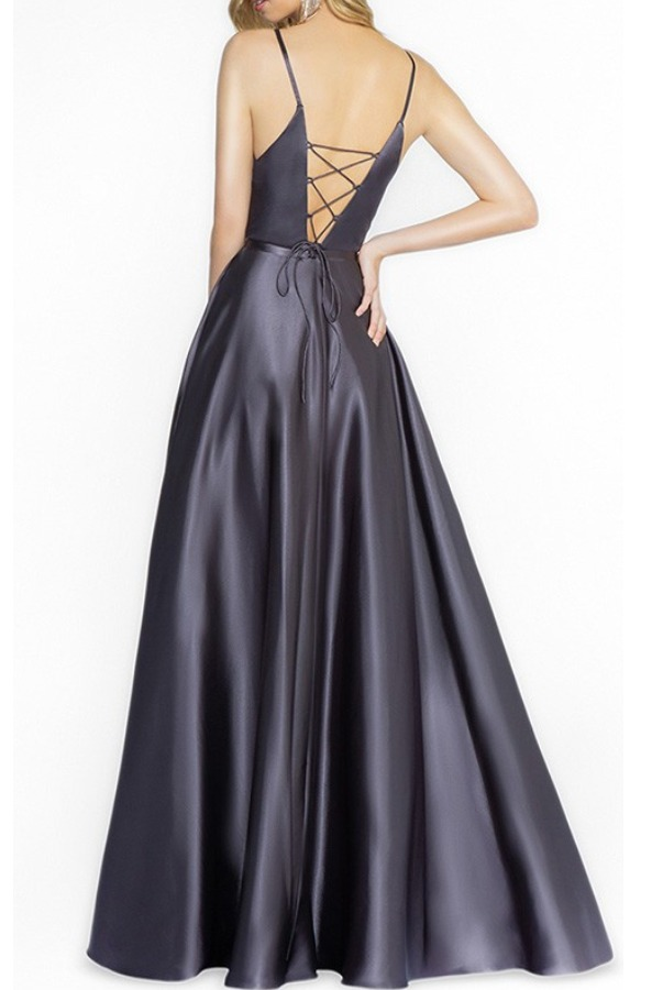 Val Stefani 3709RK  Casey Charcoal A Line Satin Gown