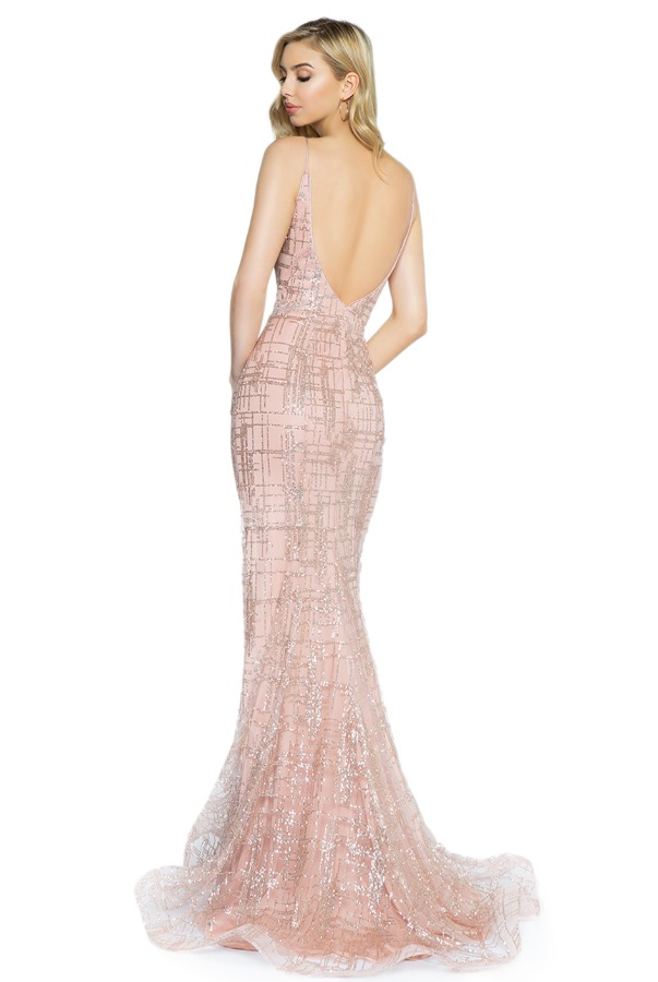 Val Stefani 3712RG Glitter Tulle Mermaid Lace Applique Gown