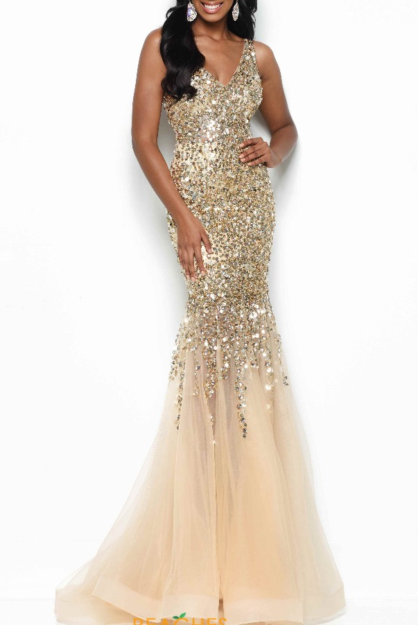 Jasz Couture 7111 Gold Beaded Jeweled Gown Evening Dress