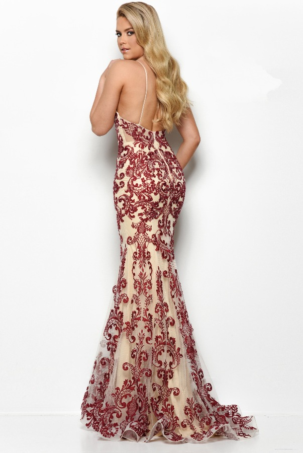 Jasz Couture 7087 Nude Burgundy Beaded Lace Gown